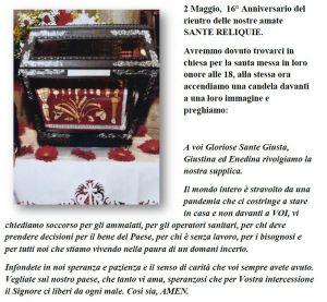 Preghiera 16°anniversario rientro Sante Reliquie